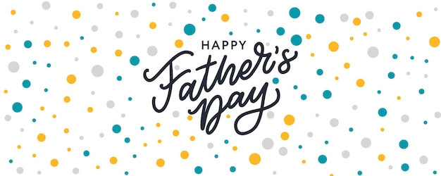 Happy fathers day lettering banner sale brush text pattern