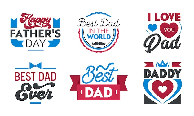 Happy fathers day lettering collection.