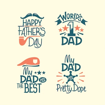 Happy fathers day lettering set. my dad is the best