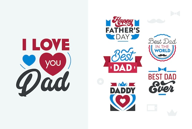 Happy fathers day lettering set.