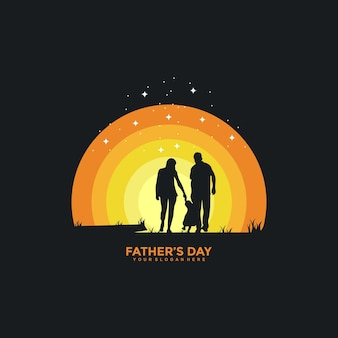 Happy fathers day logo design template illustration vector