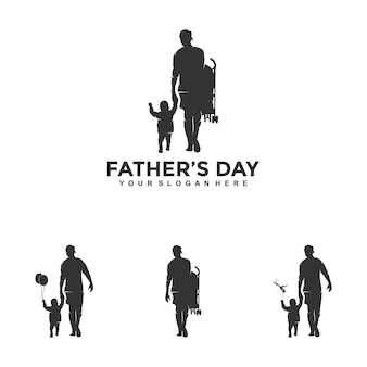 Счастливый день отцов логотип дизайн шаблона иллюстрации вектор Premium векторы