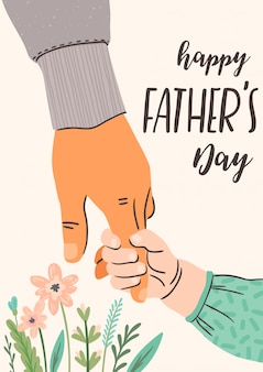 Happy fathers day. man holds the hand of child.