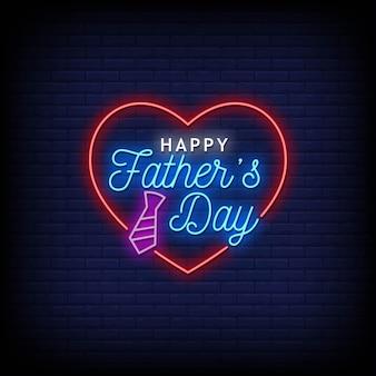 Счастливый день отца неоновые вывески стиль текста
