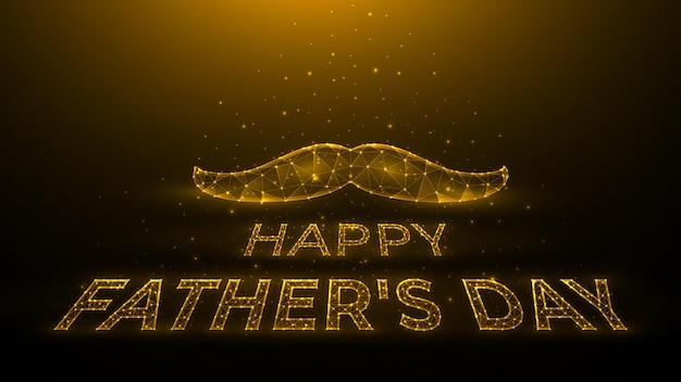 濃い黄色の背景の口ひげと点と線から作られたレタリングの幸せな父の日の多角形のベクトル図休日のバナーテンプレートまたははがき