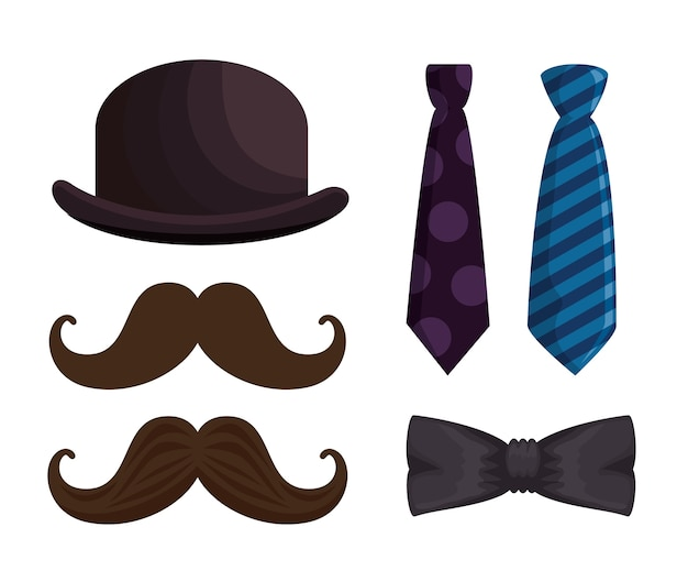 Happy fathers day set accessories icons