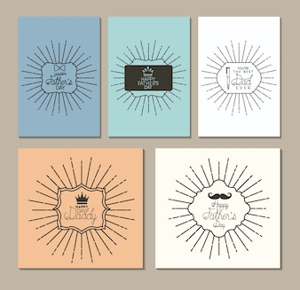 Happy fathers day set cards