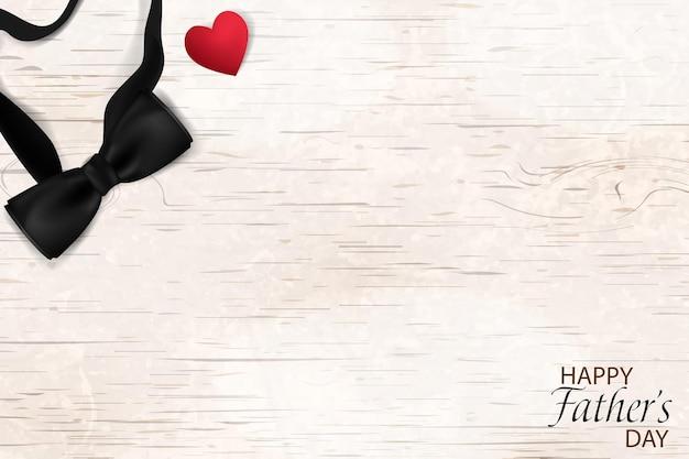 幸せな父の日テンプレートグリーティングカード父の日バナーチラシ招待おめでとうまたはポスターのデザイン父の日のコンセプト木製の背景に黒い蝶ネクタイ赤いハートのデザイン