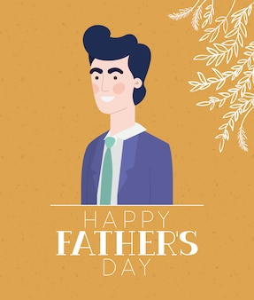 Happy fathers day text man cartoon and leaves