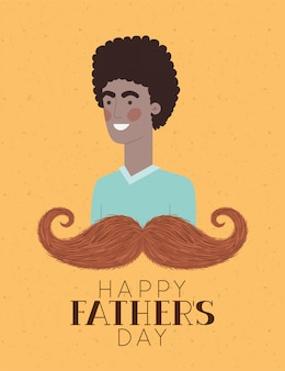 Happy fathers day text man cartoon and mustache