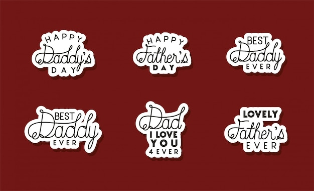Happy fathers day typography texts design, celebration and love theme