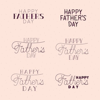 Happy fathers day typography texts