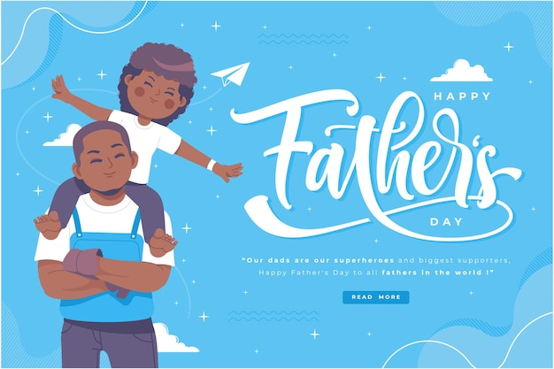 Happy fathers day wishes and lettering illustration