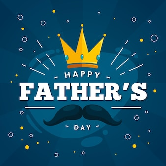 Happy fathers day with crown and mustache