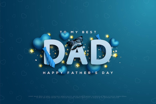 Happy fathers day with dad writing