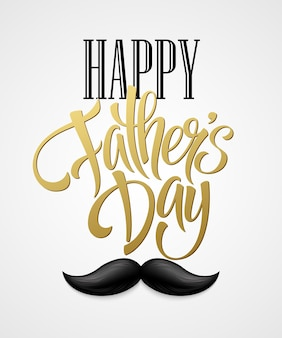 Happy fathers day with greeting lettering and mustache. eps10