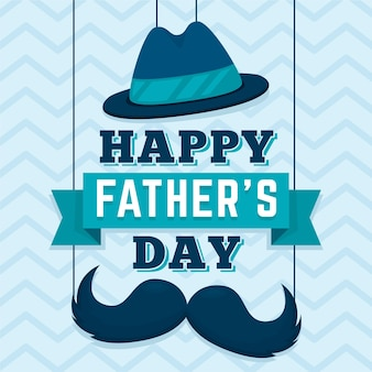 Happy fathers day with mustache and hat