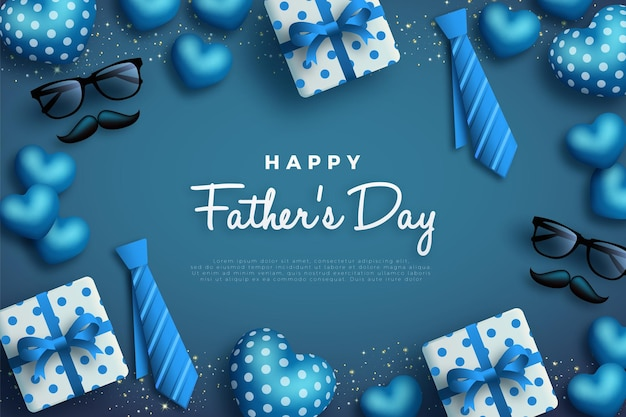 Happy fathers day with tie frame and gift box.