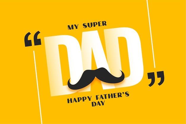 Cartolina d'auguri gialla di felice festa del papà