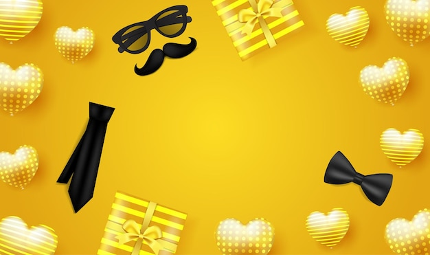 Happy fathers day on yellow with glasses mustache tie ribbon and gift box