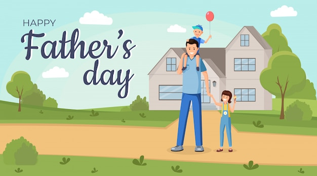 Happy fathers day. young father holding daughter hand, carrying little son on shoulders cartoon characters.