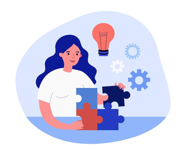 Happy female cartoon character putting pieces of puzzle together. woman with new idea solving problem flat vector illustration. strategy, solution, success concept for banner or landing web page