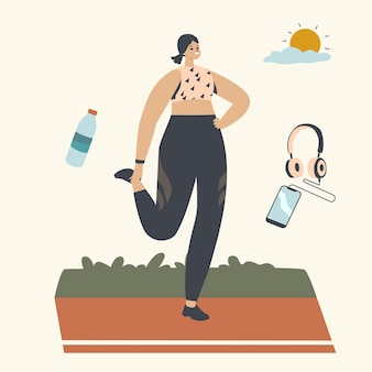 Happy female character run at morning. athletic woman in sports wear running at summertime in park