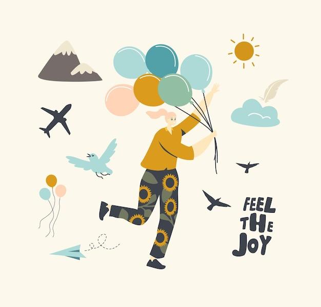 Счастливый женский персонаж бежит с кучей воздушных шаров, сбегая из карантинной изоляции