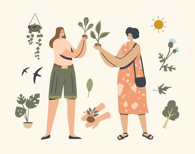 관엽 식물과 야생 식물을 돌보는 행복한 여성 캐릭터