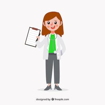 クリップボードを表示している幸せな女性医者