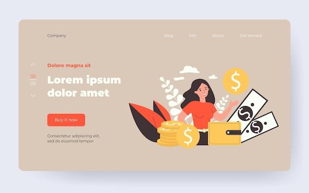 幸せな女性起業家はお金を囲み、金貨の孤立したフラットベクトルイラストを示しています。漫画銀行の消費者借り換えローン。個人の財務目標とビジネスコンセプト