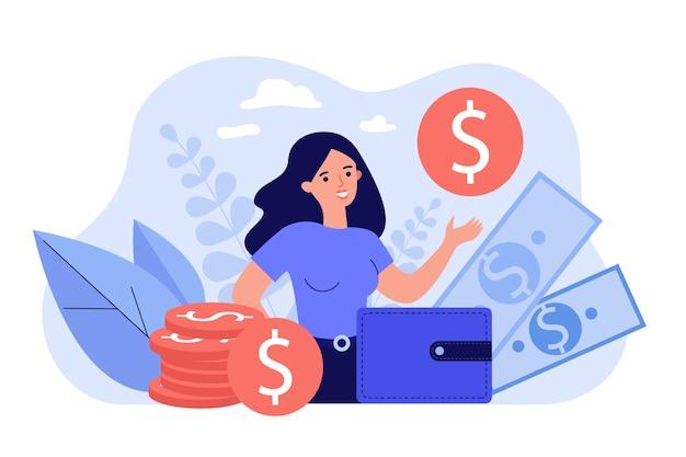 행복 한 여성 기업가 포위 돈과 금화를 보여주는