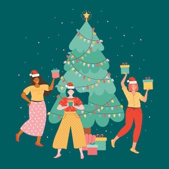 新年やクリスマスを祝う幸せな女性の友人。
