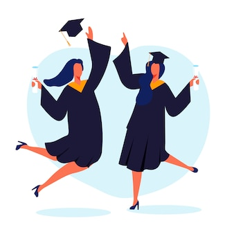 Happy female graduates flat vector illustration