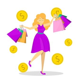 幸せな女性は多くの買い物袋を保持します。買い物中毒