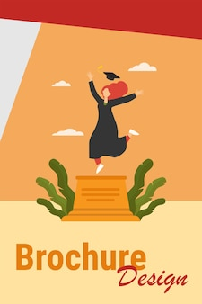 졸업을 축 하하는 행복 한 여자 학생. 연구, 졸업장, 모자 평면 벡터 일러스트 레이 션. 배너, 웹 사이트 디자인 또는 방문 웹 페이지에 대한 교육 및 지식 개념