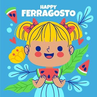 Счастливый феррагосто иллюстрация