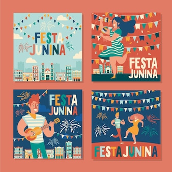 Happy festa junina festival hand drawn card pack