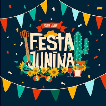 Happy festa junina festival with musical instruments