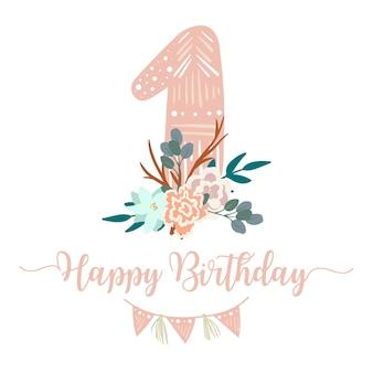 С первым днем рождения с цветами, перьями и гирляндой, шаблон поздравительной открытки в стиле бохо