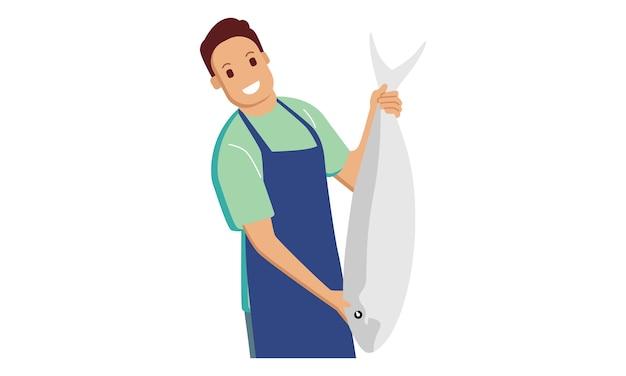 큰 물고기를 보여주는 행복 한 어 부