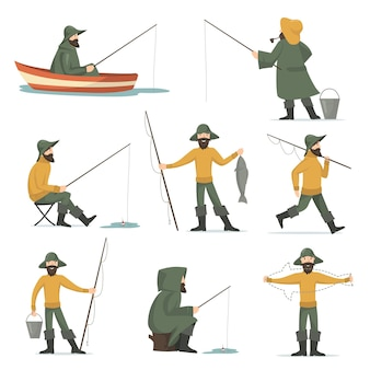 Happy fisherman with fishing rod flat set