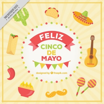 Happy five of may with mexican food and elements