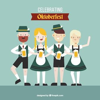 Happy flat characters celebrating oktoberfest