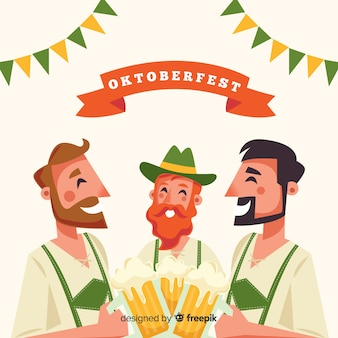 Happy flat characters celebrating oktoberfest