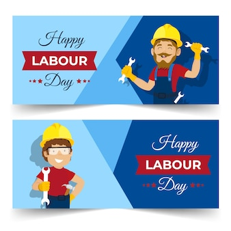 Happy flat design labour day banner