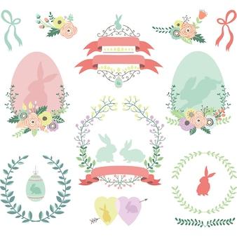 Счастливые цветочные пасхальные элементы дизайна