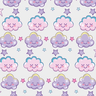 Happy fluffy cloud with stars background