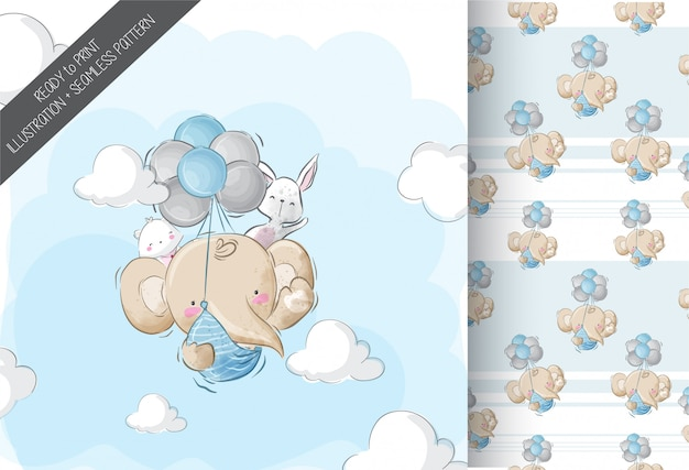 Happy flying baby elephant with seamless pattern