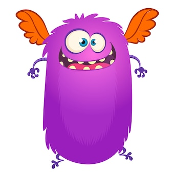 Happy flying cartoon monster.  vector illustration for halloween